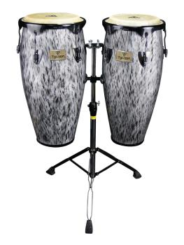 Kinetic Steel Series Congas - Black Powder with Double Stand (10 inch. (HL-00288775)