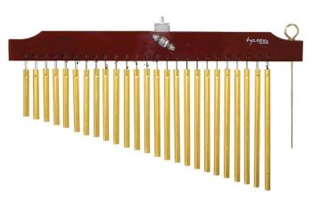 25 Gold Chimes with Brown Finish Wood Bar (TY-00755642)