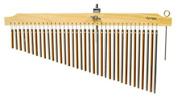 36 Chrome and Gold Chimes with Natural Finish Wood Bar (TY-00755647)
