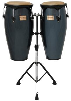 Metallic Blue Supremo Congas With Double Stand: 10 inch. & 11 inch. Mo (HL-00156026)