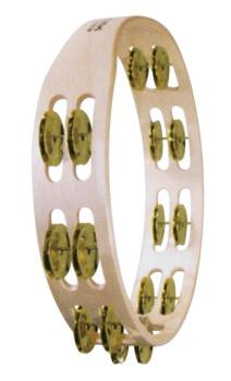 Double Row Wooden Tambourine (Bright Brass Jingles) (TY-00755539)
