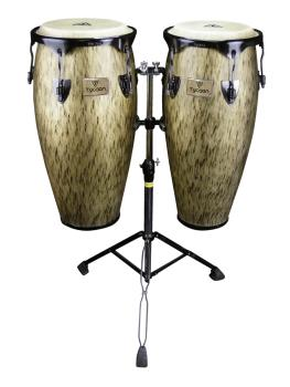 Kinetic Gold Series Congas - Black Powder with Double Stand (10 inch.  (HL-00288776)