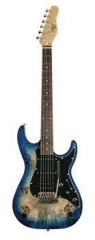 Blue Burst Burl 60 Ultra Double Cutaway Electric With Locking Tremelo  (HL-00347987)
