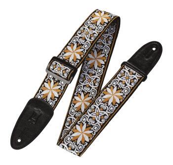 '60s Hootenanny Jacquard Weave Guitar Strap - Floral Yellow: Print Ser (HL-03719553)