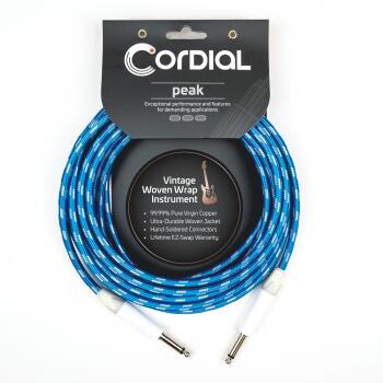 Premium Instrument White/Blue Sky Textile Cable: Peak Series - 20-Foot (HL-03719697)