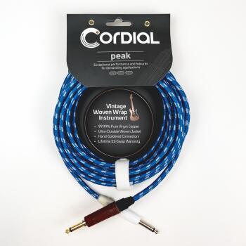 Premium Instrument White/Blue Sky Textile Cable with Neutrik Silent Pl (HL-03719702)