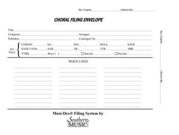 Musidex Choral Filing Envelopes (HL-03770990)