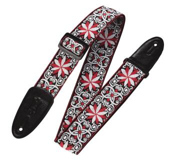 '60s Hootenanny Jacquard Weave Guitar Strap - Floral Red: Print Series (HL-03719552)