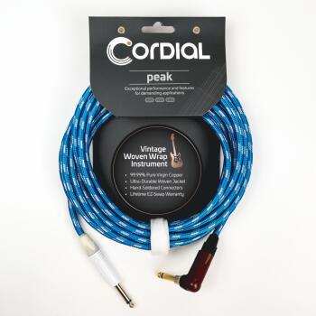 Premium Instrument White/Blue Sky Textile Cable with Neutrik Silent Pl (HL-03719703)